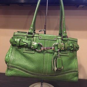 Coach Green Leather Shoulder Bag